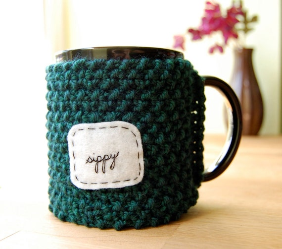 Sippy Coffee Mug Cozy Dark Teal Green Knitted Tea Cup Cosy
