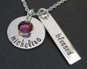 Personalized Mommy Jewelry - Hand Stamped Mothers Necklace - Blessed Mommy Charms