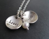 Hand Stamped Jewelry - Personalized Mother's Necklace - Sterling Silver Domed Name Discs