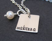 Hand Stamped Necklace - Square Charm - Personalized Jewelry - Mother or Grandma Gift