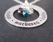 Hand Stamped Grandma Jewelry - Personalized Mommy Necklace - Family Eternity Circle