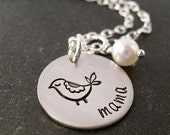 Hand Stamped Mama Bird Necklace - Personalized Jewelry