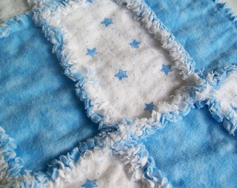 Baby Rag Quilt Lovey Size or Burp Cloth Ready To Ship
