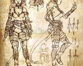 "Tiefling Rogue Art Print - 8 x 10"" - Character Sheet"
