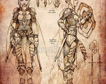 "Eladrin / Elf Paladin / Knight Art Print - 8 x 10"" - Character Sheet"