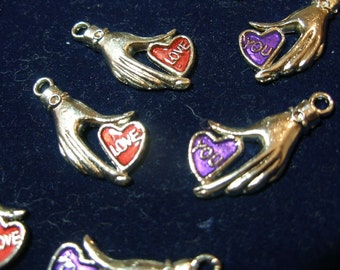 Heart in Hand VALENTINE Charms pendants (8-4 pairs) silver hands, red, purple hearts  say Love You  TeamESST,  OlympiaEtsy,  WWWG, paganteam