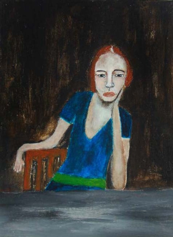 Acrylic Portrait Painting Sulky Redheaded Sad Woman Original, Whimsical, Humorous, Slow Moves & Dirty Tricks 9x12 Canvas