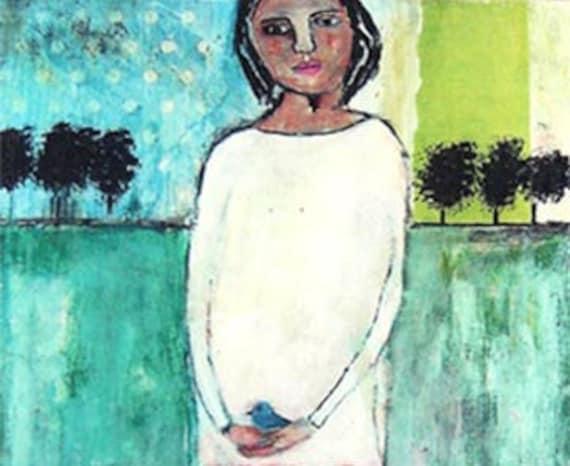 Two Lost Souls 4x4 inch print in chipboard mini art, girl, blue bird, beeswax, trees, landscape