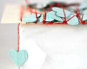 Tiny VALENTINE Hearts Stitched Paper Garland Blue Valentine Wedding Engagement Birthday Baby Boy Christening Baptism - seen Front Page Etsy