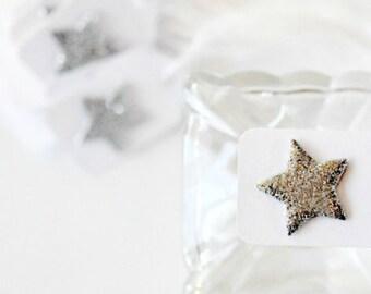 Mini Silver Star Tags {12} | Glitter Star Tags | Silver Stars | Mini Star Tags | Christmas Star Tags | Holiday Star Tags | Festive Star Tags