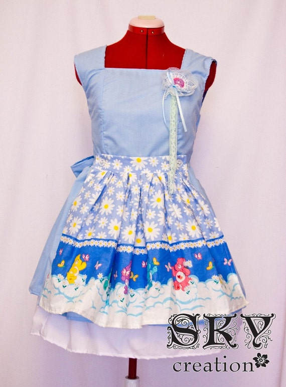 SALE Baby Blue Maid's Dress w/ Care Bears Apron S-M Ready To Ship