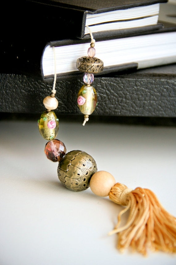 Gift for mother grandma - Delicate dainty bookmark with tassel - light gold tones with delicate glass beads - under 25