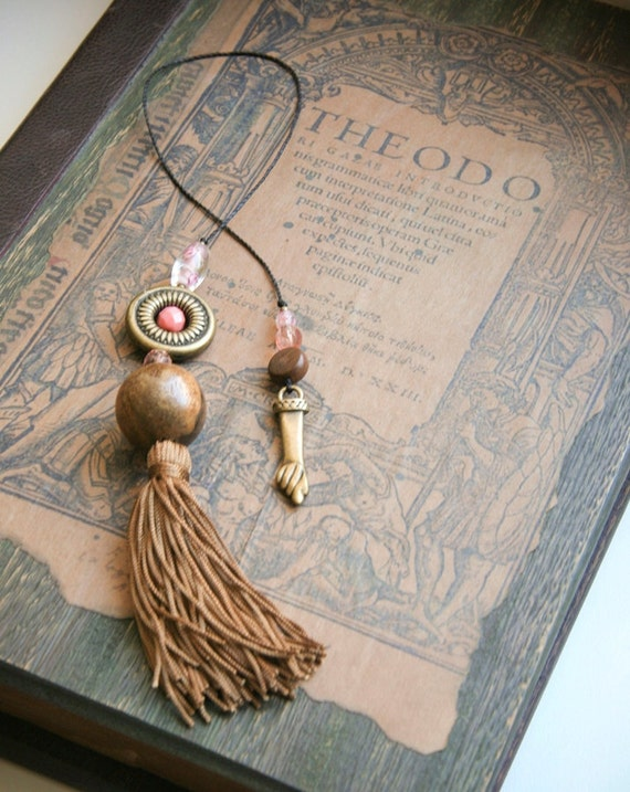 Mano fico amulet figa charm for good luck and protection on tasseled bookmark