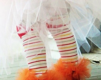 Orange Girls Ruffle Tutu Leg Warmers - Perfect for Birthday, Costume, Photo Prop, Dress up, Fits Girls 6M-6X