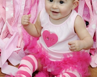 "Hot Pink Candy Bunny Legs Girls Ruffled Tutu Leg Warmers Perfect for photos - Fits girls size 6m to 6X approx 12"" long"