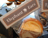 INSTANT DOWNLOAD (Digital) Sophisticated Safari Elephant Ear Folded Favor Tag in Brown and Orange with Animal Print