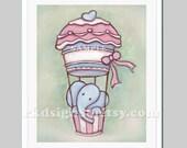 Nursery art, nursery print, baby nursery wall art, children decor, elephant and cupcake art for kitchen decor - My Super Cupcake 8x10