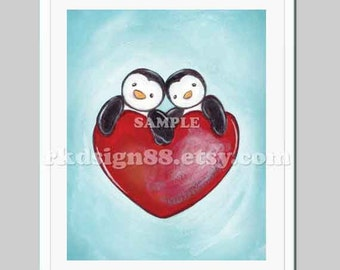 Valentines day, cute couple illustration, wedding anniversary gift, engagement, penguins acrylic drawing, heart, red, One Love print 8x10