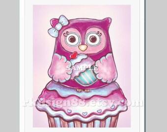 Childrens art print nursery decor whimsical forest owl for nursery art or kitchen decor - My Cute Cupcake 8x10