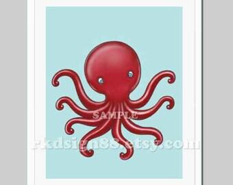 "Nursery art print, ""Octopus"" ,  whimsical sea animal nursery decor, kids wall art, children decor"