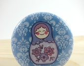 Pocket Mirror - Compact Mirror with Muslin Pouch - Matryoshka Doll on Blue