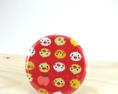 Pocket Mirror - Lipstick Mirror with Muslin Pouch - Red Japanese Duck Fabric