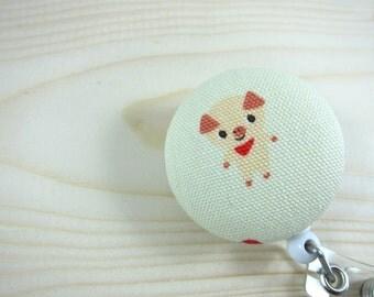 ID Badge Holder / Retractable Badge Reel (Clip-on) - Japanese Pig