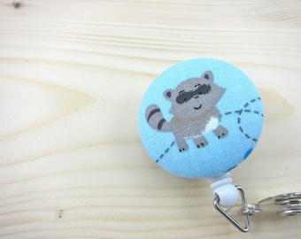 Retractable Badge ID Holder / Badge Reel (Clip-on) - Raccoon