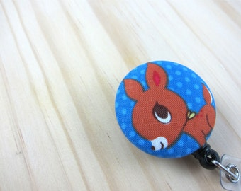 Retractable Badge Holder Badge Reel Teacher Gift Nurse ID Badge Holder - Kawaii Cute Deer