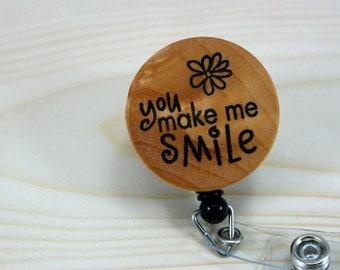 Badge Reel Badge Holder Retractable ID Badge Holder - Natural Wood - Smile