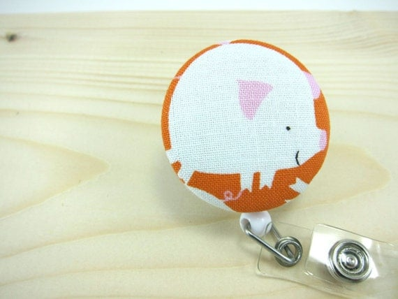 Badge Reel ID Badge Holder Retractable Badge ID Holder Lanyard - Pig