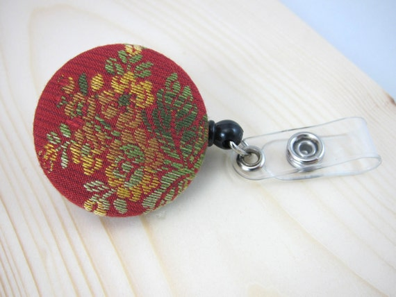Badge Holder Retractable ID Badge Reel - Floral Pattern