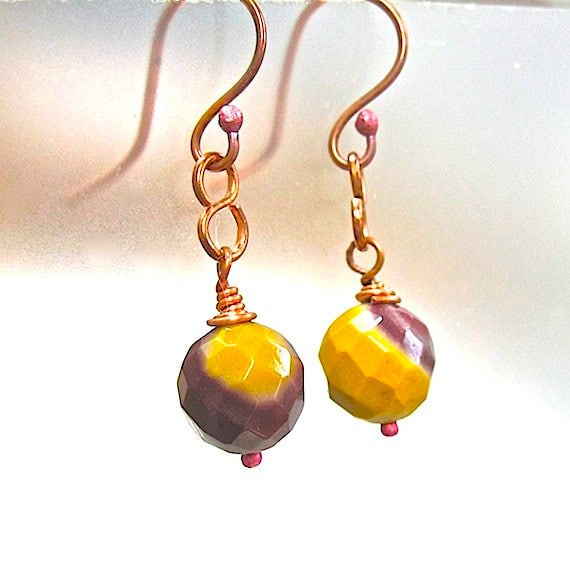 Mookaite Gemstone Earrings Boho Dangles Red & Yellow Stones Copper Wire Wrapped Fashion Jewelry