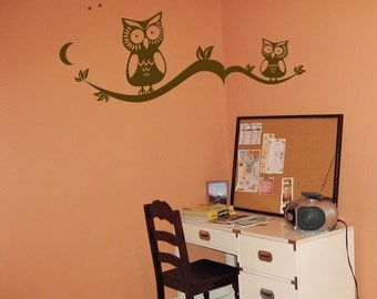 Two Cute Owls Sitting on Tree Branches with Leaves and Stars - Wall Decals - Your Choice of Color