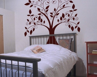 Giant Tree with Falling Leaves - Wall Decals - Your Choice of Color
