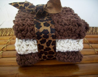 Beauty,Home,Living,Bath Acdessory,Kitchen,Crochet Cloths ,Cleaning Supplies,Face Cloth,Cotton,Brown,Ecru,wash cloth