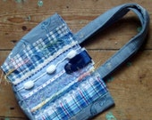 OOAK Hand bag from recycled sample fabrics in Pale Denim
