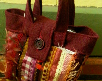 OOAK Hand bag in recycled fabrics. Made to Order
