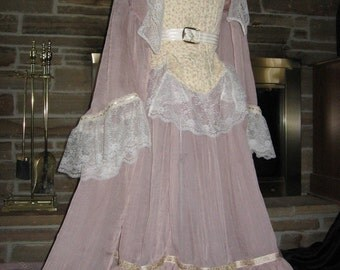 Custom Made 4 piece Sweeney Todd Johanna Pink gown with train and boned corset