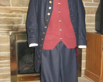 Custom Made  CHILD SIZE 5 pc Colonial Victorian Edwardian Frock Coat Waistcoat or vest shirt cravat jabot and breeches
