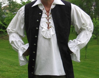 Custom made Renaissance Medieval Tudor Pirate Rogue Poet 2pc shirt and vest costume