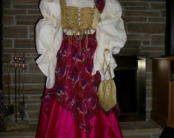 Custom Made 6 piece Gypsy Pirate wench Costume with blouse, corset, skirt, overskirt, head scarf and ditty bag