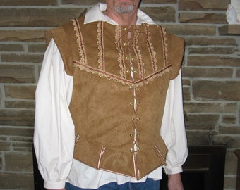 Custom mens doublet jerkin vest renaissance pirate nobleman celtic musketeer rogue costume