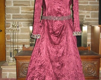 Custom made satin renaissance maiden medieval 2 pc  gown dress with train