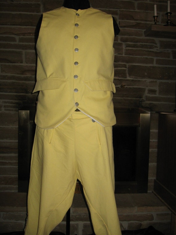 Custom Made 2 piece Colonial Civil War Pioneer George Washington or Pirate vest waistcoat and knee length breeches pants