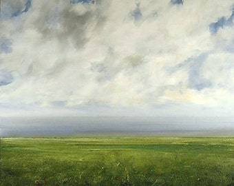 Landscape Painting CUSTOM Modern Abstract Sky Cloud FIeld by J Shears