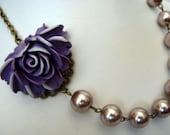 Purple Rose Romance Necklace - Strand Pearl Bib Necklace