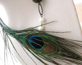 Boho Peacock Feather Statement Necklace - OOAK Feather Asymmetric Green Necklace
