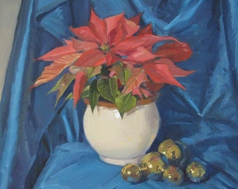 "Sale! Christmas Art ""Pink Poinsettia with Ornaments"" Original oil painting on canvas 12x12in"