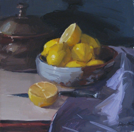 """Sale! Framed art ready to hang """"Lemon Bowl with Knife"""" original oil painting by Sarah Sedwick 8x8in"""